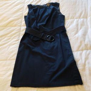 Ann Taylor Petites Navy Blue Belted Dress, Size 2P